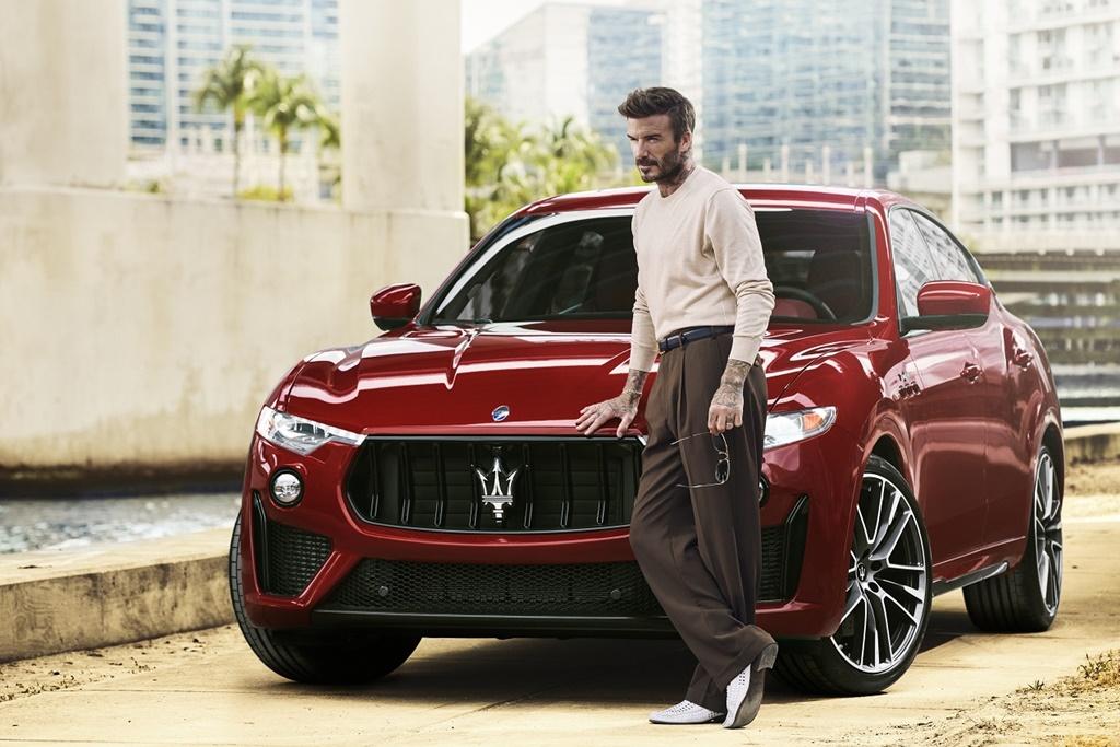 Foto David Beckham mit Maserati Levante